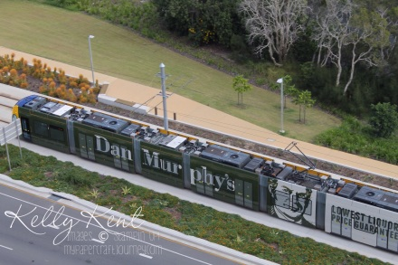 The tram this zips rom Broadbeach up past Surfers Paradise