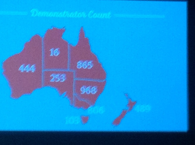 I loved this slide showing the demo breakdown in the South Pacific.  Queenslanders love their Stampin' Up!