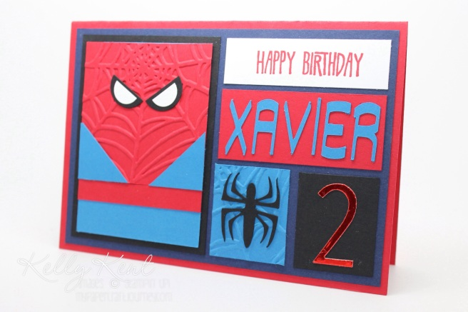 Spiderman Block Art Card.  Kelly Kent - mypapercraftjourney.com.