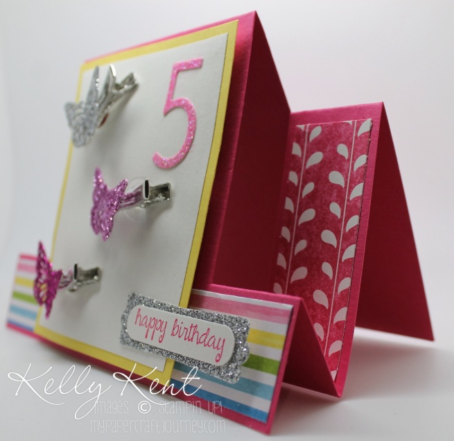 Butterfly Hair Clip card & gift creation with a centre-step fancy fold design (JAI284). Kelly Kent - mypapercraftjourney.com.