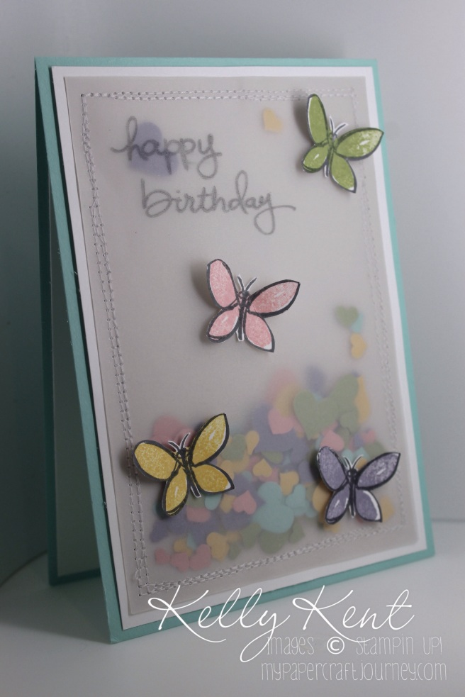 Heart Birthday Shaker Card with sewn edges & Garden in Bloom butterflies. Kelly Kent - mypapercraftjourney.com.