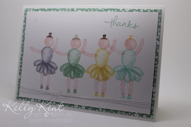 Stampin' Up! Occasions 2016 Sneak Peak: Balloon Builder {Ballerinas}.  Dancing teacher thank you card.  Kelly Kent - mypapercrafjourney.com.