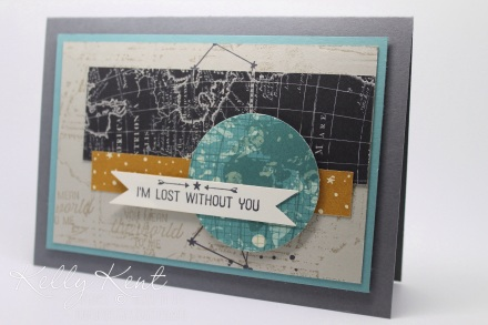 OnStage Local 2015 Sneak Peak - Make & Take 1 Going Places Suite: Going Places DSP Stack, Going Global stamp set & World Traveler Embossing Folder.  Kelly Kent - mypapercraftjourney.com.