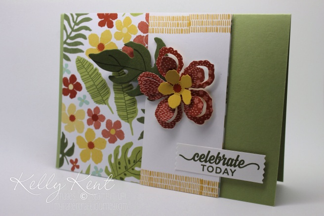 OnStage Local 2015 Sneak Peak - Make & Take 2 Botanical Gardens Suite: Botanical Gardens DSP, Botanical Builder Framelits Dies, Botanical Blooms stamp set plus Enjoy The Little Things stamp set.  Kelly Kent - mypapercraftjourney.com.