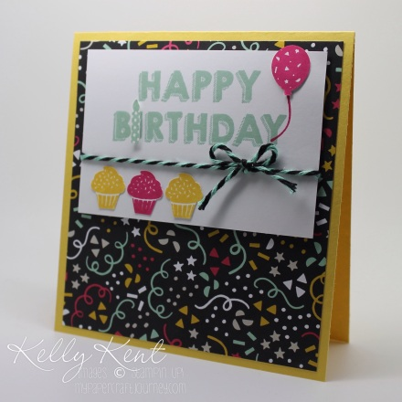 OnStage Local 2015 Sneak Peak - Make & Take 4 It's My Party Suite: It's My Party DSP Stack, Two Tone Baker's Twine, Party Punch Pack & Party Wishes stamp set.  Kelly Kent - mypapercraftjourney.com.