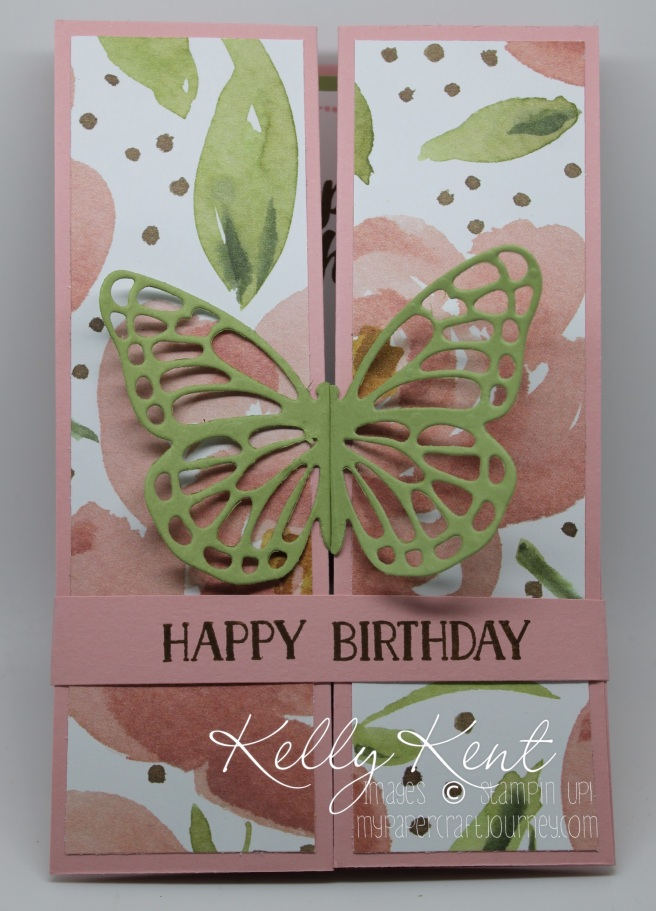Double Z-Fold Butterfly Birthday card featuring English Garden DSP and Tin of Cards stamp set. Kelly Kent - mypapercraftjourney.com