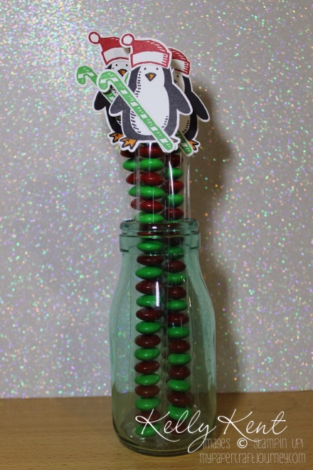 Christmas Treat Tubes with M&Ms: Snow Place & Friends Penguin. Kelly Kent - mypapercraftjourney.com.