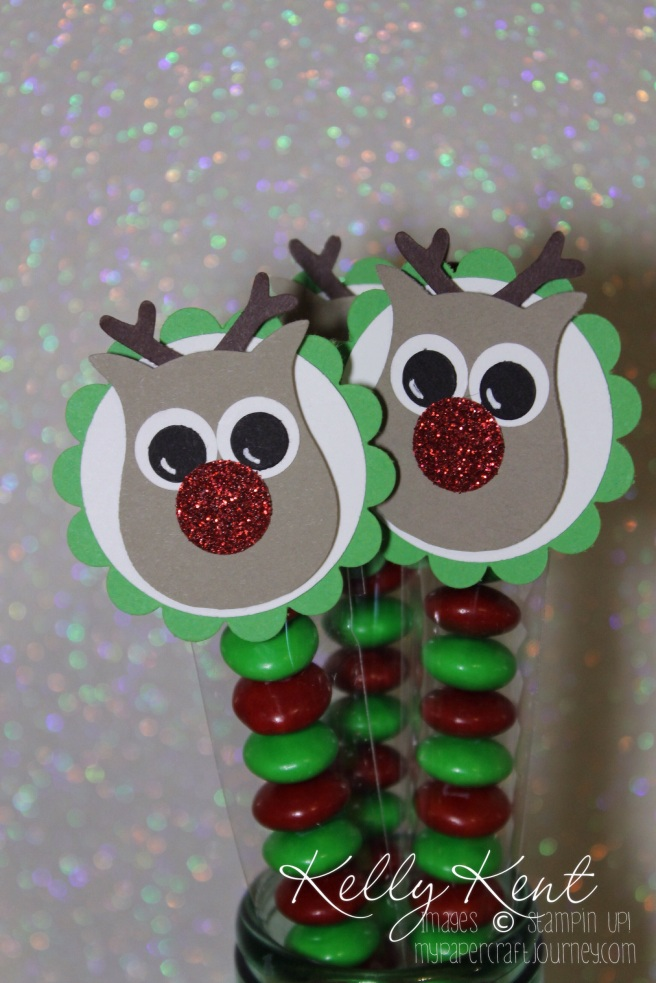 Christmas Treat Tubes with M&Ms: Reindeer punch art. Kelly Kent - mypapercraftjourney.com.