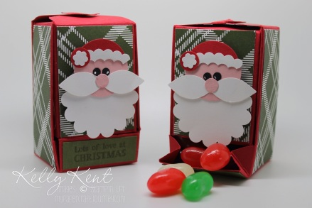 Santa Jellybean Dispenser. Made using the Gift Box Punch Board. Kelly Kent - mypapercraftjourney.com.