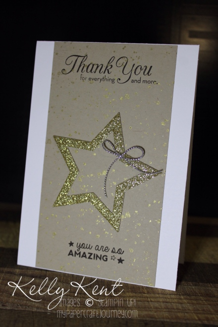 Gold Star Thank You card. Kelly Kent - mypapercraftjourney.com.