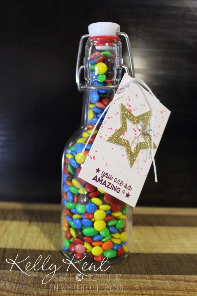 Quick & easy thank you gift: M&M filled bottle. Kelly Kent - mypapercraftjourney.com.