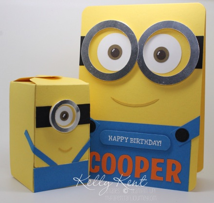 Minion Birthday Set - Card front punch art Minion & Jellybean Dispenser box. Instructions included. Kelly Kent - mypapercraftjourney.com.