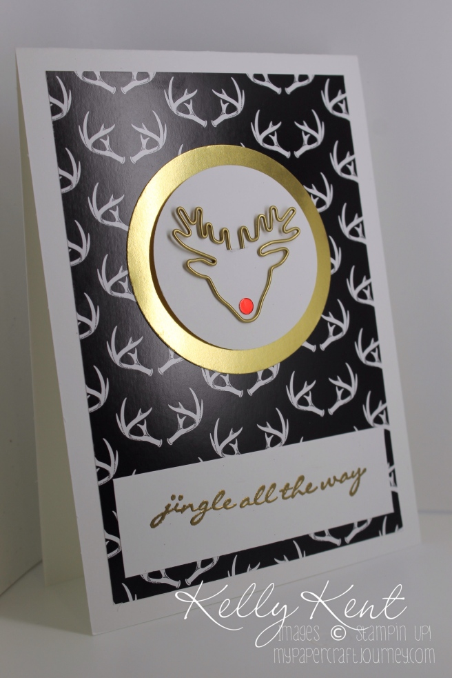 Jingle All The Way Christmas Card featuring a red nosed Reindeer Paper Clip.  Kelly Kent - mypapercraftjourney.com.