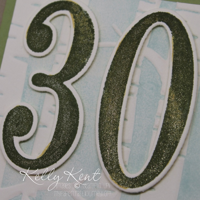 Gold Wink of Stella pen - featured in the Occasions 2016 catalogue. Large Numbers & Number of Years bundle. Kelly Kent - mypapercraftjourney.com.