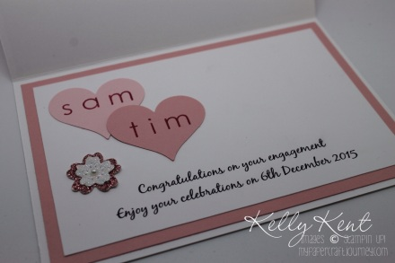Custom Engagement Card: Sweetheart Punch, Back to Basics Alphabet stamp set, Blushing Bride Glimmer Paper & Bloomin' Heart Thinlits Dies. Kelly Kent - mypapercraftjourney.com.