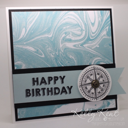 Nautical Themed Birthday card - Perfectly Artistic DSP, Party Wishes Stamp Set & Going Global Stamp Set. Sale-A-Bration & Occasions 2016. Kelly Kent - mypapercraftjourney.com.