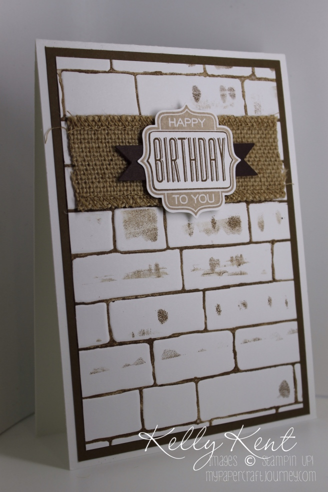 Inked Up Embossing Folder Technique - Brick Wall Embossing Folder, Burlap Ribbon, Label Bracket Punch & Tag Talk Stamp Set. Kelly Kent - mypapercraftjourney.com.