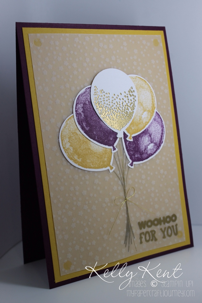 Woohoo for you Congratulations card featuring Botanical Gardens Vellum, Balloon Builders & Balloon Celebration and All Boxed Up stamp sets. Kelly Kent - mypapercraftjourney.com.