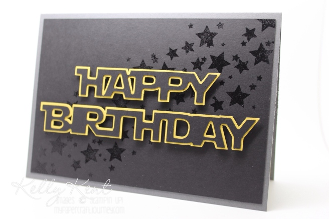 Star Wars themed birthday card. Jedi font cut using Silhouette Cameo (Jedi font) & Stampin' Up! supplies (including Perpetual Calendar stamp set). Kelly Kent - mypapercraftjourney.com.
