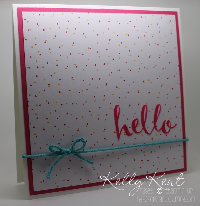 Hello & welcome to Team Papercraft card featuring It's My Party DSP, Clear Wink of Stella & Hello Stamp set. Kelly Kent - mypapercraftjourney.com.