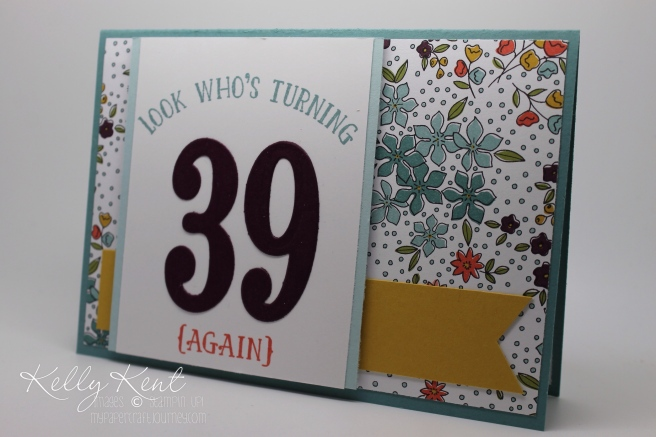 2016 Occasions Catalogue Launch Event - Card Kit #3 Wildflower Fields DSP, Large Numbers Framelits & Number of Years stamp set.  Kelly Kent - mypapercraftjourney.com.