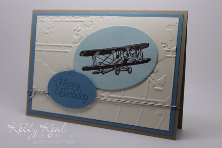 2016 Occasions Catalogue Launch Event - Card Kit #1 Sky's The Limit & World Traveler Embossing Folder.  Kelly Kent - mypapercraftjourney.com.