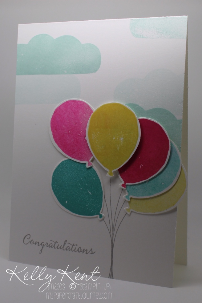 2016 Occasions Catalogue Launch Event - Card Kit #6: Balloon Celebration Stamp Set & Balloon Bouquet Punch .  Kelly Kent - mypapercraftjourney.com.