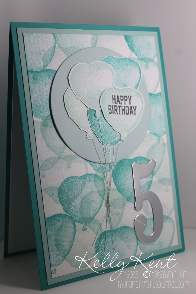 Balloon Builders Ombre Heart Birthday card. Kelly Kent - mypapercraftjourney.com.