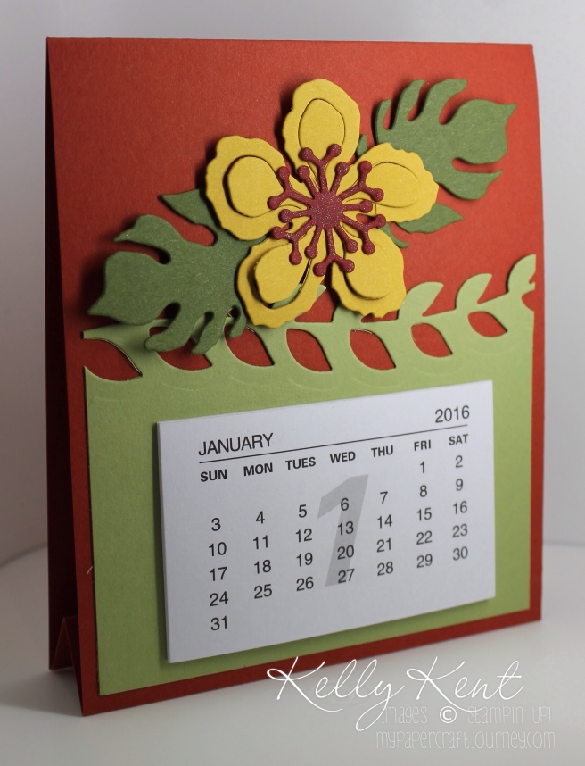2016 Easel-Style Calendar using Botanical Builders Framelits. Kelly Kent - mypapercraftjourney.com.