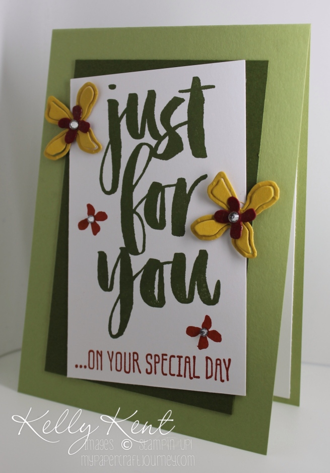 Just for You Card using Sale-A-Bration Botanicals For You stamp set, Botanical Builders Framelits and Botanical Blooms stamp set. Kelly Kent - mypapercraftjourney.com.