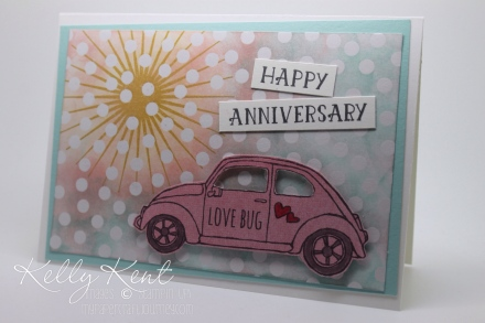 Emboss Resist Love Bug Anniversary Card - featuring Beautiful Ride, Number of Years and Kinda Ecletic stamp sets together with Color Me Irresistible Specialty DSP. Kelly Kent - mypapercraftjourney.com.