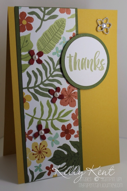 Thanks card featuring the Botanical Gardens suite: Botanical Builders Framelits, Botanical Gardens DSP, Botanical Blooms stamp set, Botanical Gardens Jewels and Suite Sayings. Kelly Kent - mypapercraftjourney.com.