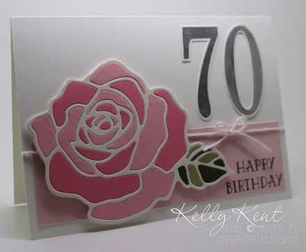 Stained Glass Rose 20th Birthday card featuring Rose Garden Thinlits & Large Numbers framelits. Kelly Kent - mypapercraftjourney.com.