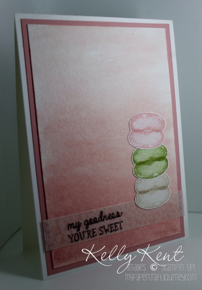 Just Add Ink #299 photo inspiration challenge. Macaron Tower on a watercolour background. Kelly Kent - mypapercraftjourney.com