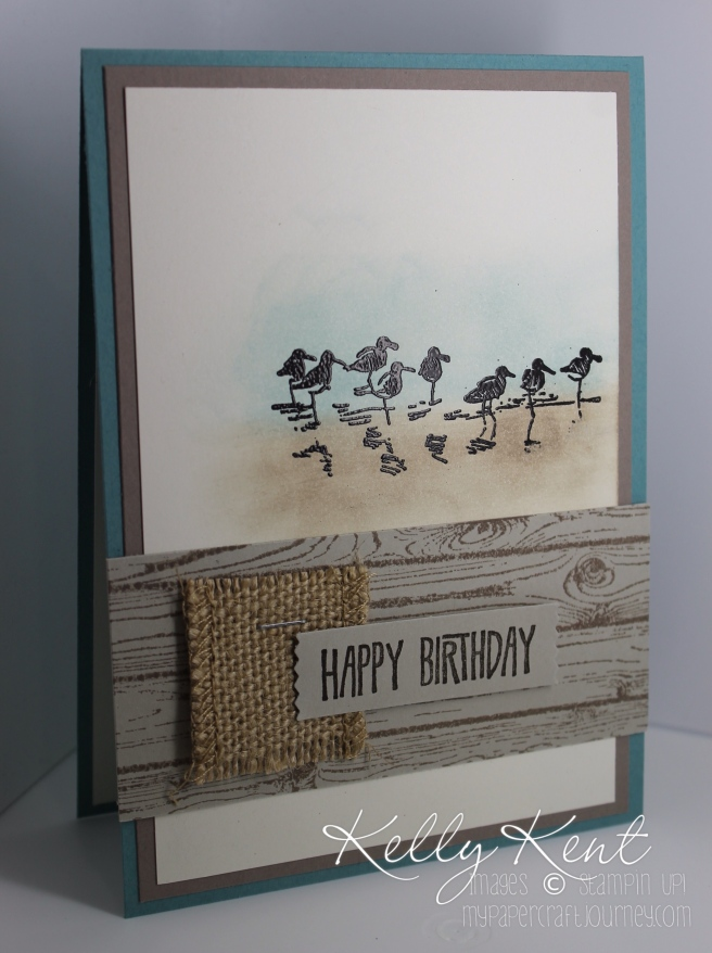 My top 3 tips for designing netural cards, like this birthday card using Wetlands Stamp Set, Hardwood Background stamp & Burlap ribbon plus a great colour combination (Lost Lagoon, Tip Top Taupe & Very Vanilla). Kelly Kent - mypapercraftjourney.com.