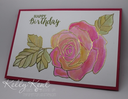 Two-Tone Watercolouring. Rose Wonder stamp set & gold embossing. Kelly Kent - mypapercraftjourney.com.