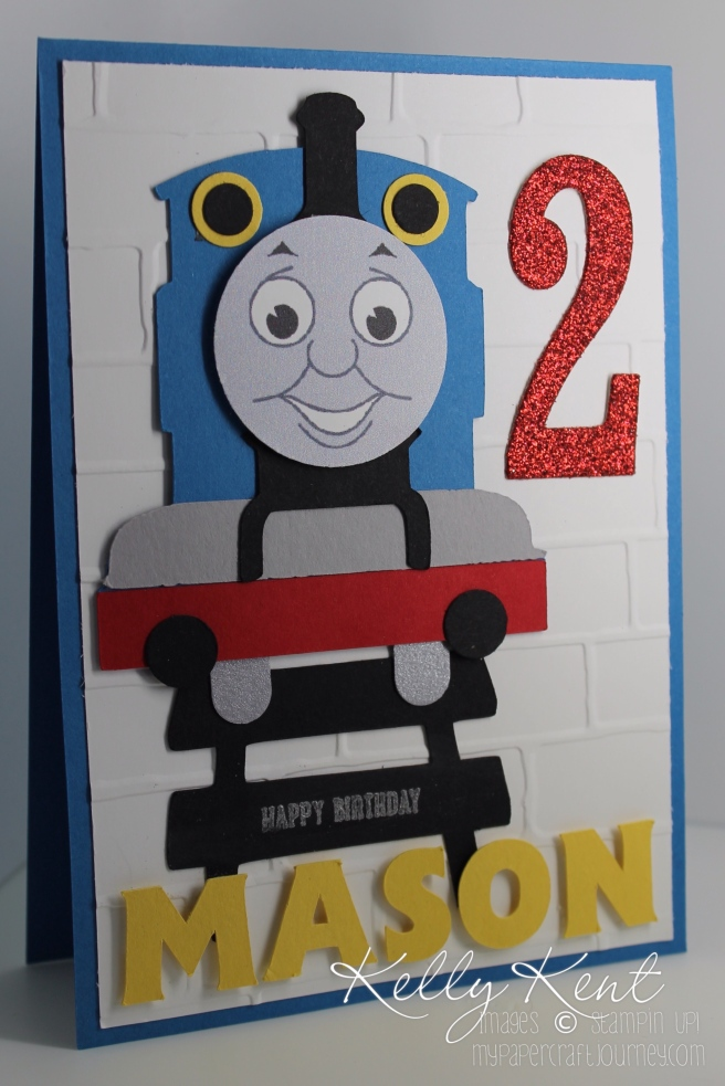 Thomas the Tank Engine Stampin' Up! & Silhouette Cameo hybrid card. Kelly Kent - mypapercraftjourney.com.