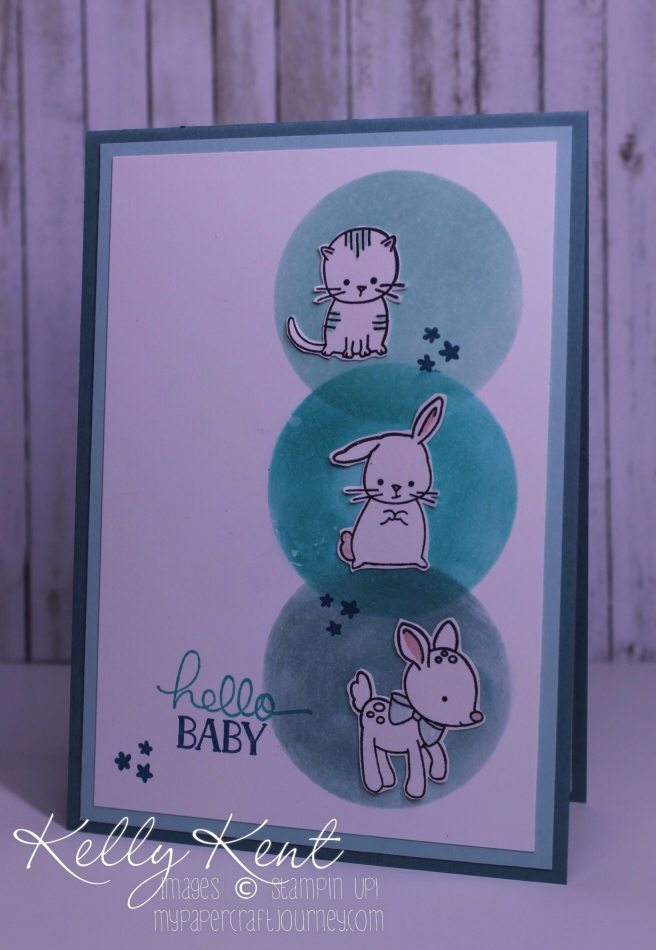 Stamp Review Crew - Made With Love. Hello Baby Card. Kelly Kent - mypapercraftjourney.com.