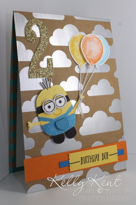 Playful Pals - Minion Birthday card using Shine On Speciality DSP, Balloon Builder stamp set, Balloon Bouquet punch. Large Numbers framelits & Hello SAB stamp set. Kelly Kent - mypapercraftjourney.com.