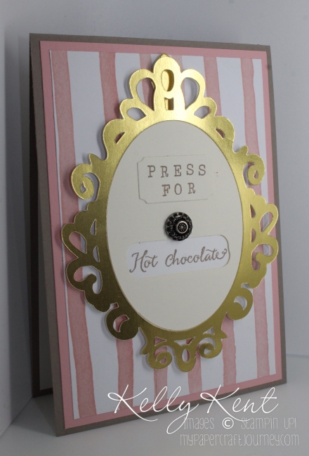 Press for Champagne / Hot Chocolate Rotating Birthday Card. Balloon Builders stamp set & Birthday Bouquet DSP. Kelly Kent - mypapercraftjourney.com.