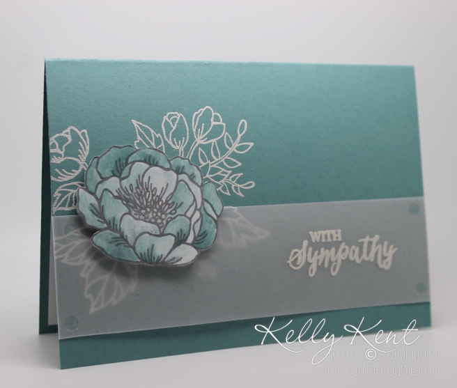 Simple Sympathy Card - Birthday Blooms & Rose Wonder stamp sets.  Kelly Kent - mypapercraftjourney.com.