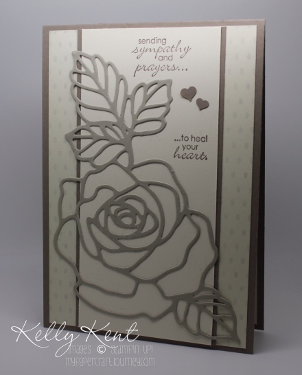 Simple Sympathy Card - Rose Garden Thinlits & Petite Pairs stamp set.  Kelly Kent - mypapercraftjourney.com.