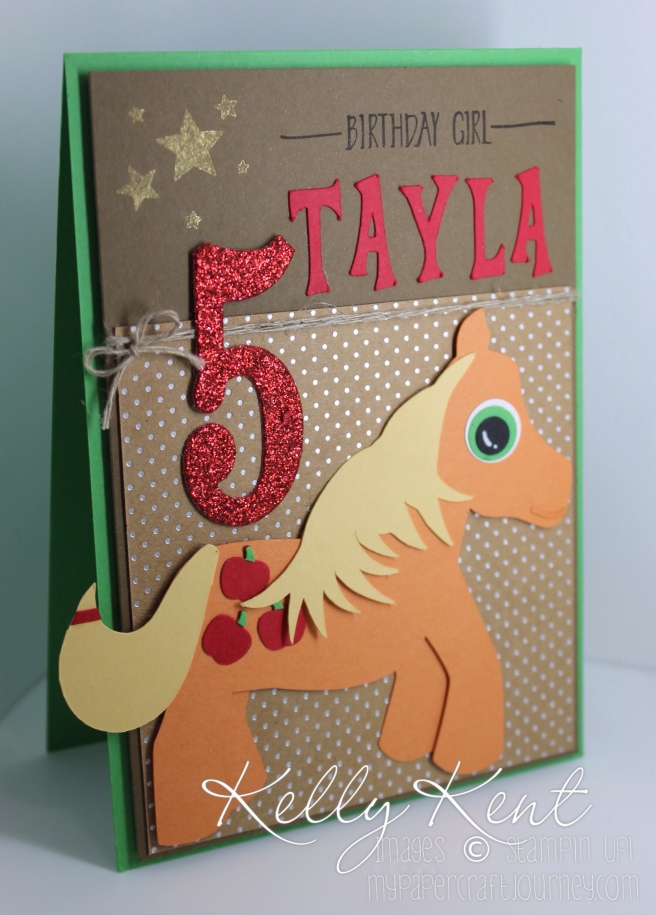 My Little Pony - Applejack birthday card. Silhouette pony design, Celestia font & Stampin' Up! cardstock & specialty papers. Kelly Kent - mypapercraftjourney.com.