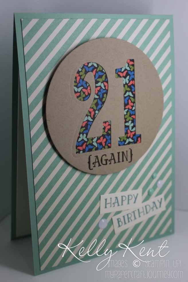 Just Add Ink #301 - Numbers. Large Numbers negative card with Number of Years stamp set & Pretty Petals Paper stack. Kelly Kent - mypapercraftjourney.com.