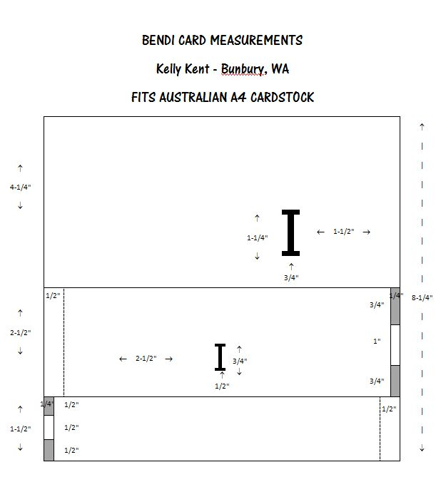 Bendi Card Measurements - Australia Kelly Kent mypapercraftjourney.com