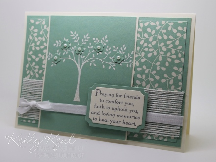 Just Add Ink #306- Sympathy. Mint Macaron & Vanilla colour scheme with Thoughts & Prayers stamp set & Pretty Petals DSP. Kelly Kent - mypapercraftjourney.com.