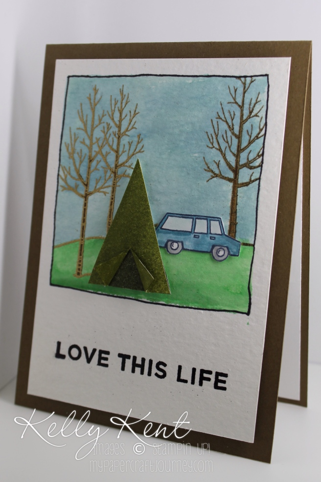 Stamp Review Crew - White Christmas. Alternative card ideas: Love This Life camping card. Kelly Kent - mypapercraftjourney.com.