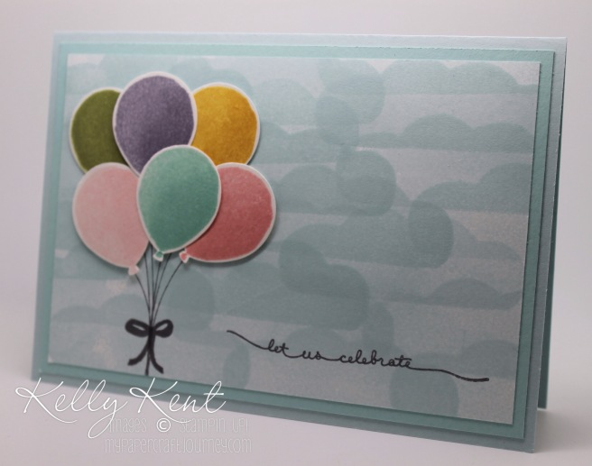 Stamp Review Crew: Balloon Celebration stamp set. Let Us Celebrate Balloon Bouquet. Kelly Kent - mypapercraftjourney.com.