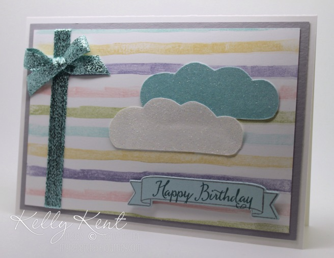 Stamp Review Crew: Balloon Celebration stamp set. Sparkly Clouds Birthday Card. Kelly Kent - mypapercraftjourney.com.