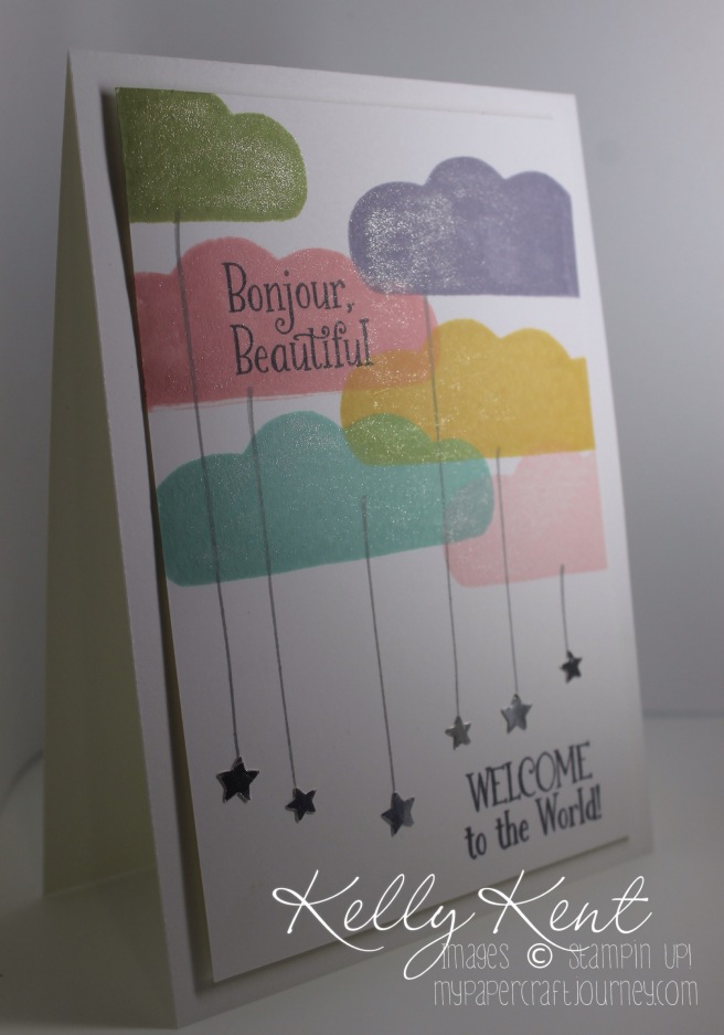 Stamp Review Crew: Balloon Celebration Stamp Set. Bonjour Beautiful Welcome Baby Girl card. Kelly Kent - mypapercraftjourney.com.